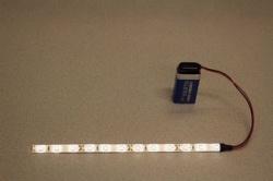 Flexibele LEDSTRIP op batterij - KoelWit 20 cm. met 9 Volt aansluiting - LEDSTRIP op batterijvoeding  - ledstr20cw