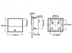 analoge paneelmeter voor dc stroommetingen 100ma dc / 70 x 60mm - AIM70100