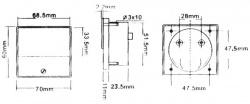 analoge paneelmeter voor dc stroommetingen 100µa dc / 70 x 60mm - AIM70100U