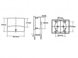 analoge paneelmetervoor dc spanningsmetingen 30v dc / 60 x 47mm - AVM6030