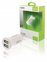 Autolader 2-Uitgangen 2.4 A 2x USB Wit - ch-011wh