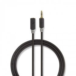Stereo audiokabel   3,5 mm male - 3,5 mm female   1,0 m   Antraciet - cabw22050at10