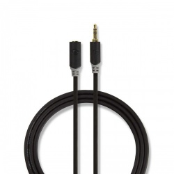 Stereo audiokabel   3,5 mm male - 3,5 mm female   10 m   Antraciet - cabw22050at100