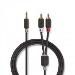 Stereo audiokabel | 3,5 mm male - 2x RCA male | 0,5 m | Antraciet - cabw22200at05