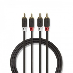 Stereo audiokabel   2x RCA male - 2x RCA male   10 m   Antraciet - cabw24200at100
