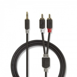 Stereo audiokabel | 3,5 mm male - 2x RCA male | 3,0 m | Antraciet - cabp22200at30