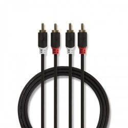 Stereo audiokabel | 2x RCA male - 2x RCA male | 2,0 m | Antraciet - cabp24200at20
