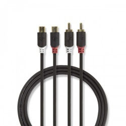 Stereo audiokabel | 2x RCA male - 2x RCA female | 2,0 m | Antraciet - cabp24205at20