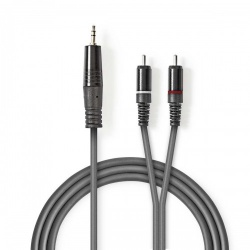 Stereo audiokabel   3,5 mm male - 2x RCA male   5,0 m   Grijs - coth22200gy50
