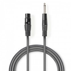 Ongebalanceerde XLR-Audiokabel | XLR 3-pins female - 6,35 mm male | 1,5 m | Grijs - coth15120gy15