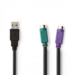 USB - PS/2-Adapterkabel | USB-A Male - 2x PS/2 Female | 0,3 m | Zwart - ccgp60830bk03