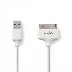 Sync and Charge-Kabel | Apple Dock 30-Pins Male - USB-A Male | 1,0 m | Wit - ccgp39100wt10