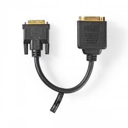 DVI-Kabel | DVI-D 24+1-Pins Male - 2X DVI-D 24+1-Pins Female | 0,2 m | Zwart - ccgp32950bk02