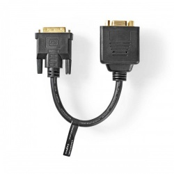 Adapterkabel DVI | DVI-I 24+5-Pins Male - 2x VGA Female | 0,2 m | Zwart - ccgp32952bk02