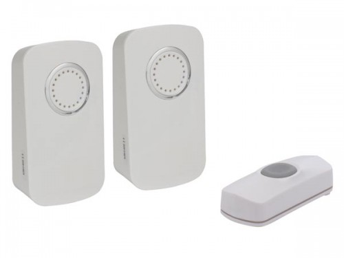 draadloze deurbel op batterijen - 2 ontvangers en 1 drukknop  - edmtwr