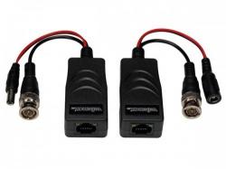 tvi video-/ voedingsbalun met 8p8c (rj45) connector en bnc/voedingskabels - paar - cv049