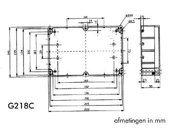 behuizing in polycarbonaat - lichtgrijs met doorschijnend deksel 220 x 146 x 55mm - g218c