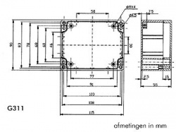 waterbestendige abs-behuizing - donkergrijs 115 x 90 x 55mm - g311
