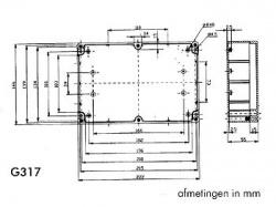 waterbestendige abs-behuizing - donkergrijs 222 x 146 x 55mm - g317