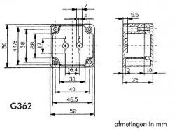 waterbestendige abs-behuizing - donkergrijs 52 x 50 x 35mm - g362