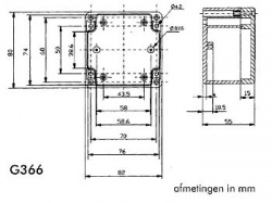 waterbestendige abs-behuizing - donkergrijs 82 x 80 x 55mm - g366