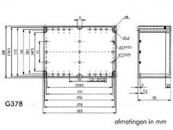 waterbestendige abs-behuizing - donkergrijs met doorzichtig deksel 265 x 185 x 95mm - g378c