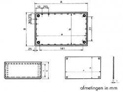 plastic optative behuizing - petroleumblauw 160 x 96 x 61mm - tkp3b