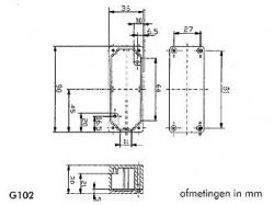 waterdichte aluminium behuizing - 90 x 36 x 30mm - g102