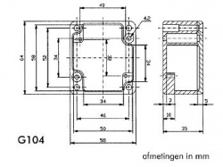 waterdichte aluminium behuizing - 64 x 58 x 35mm - g104