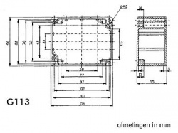 waterdichte aluminium behuizing - 115 x 90 x 55mm - g113