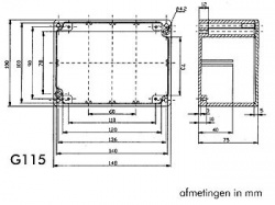 waterdichte aluminium behuizing - 148 x 108 x 75mm - g115