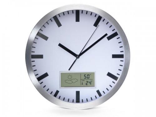 aluminium wandklok met lcd-display en thermometer, hygrometer & weersvoorspelling - Ø 25 cm - wc100