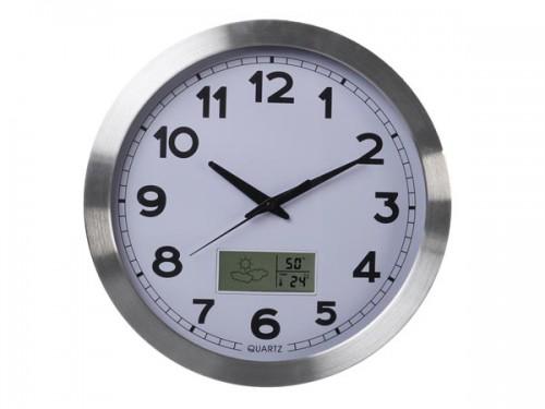 aluminium wandklok met lcd-display en thermometer, hygrometer & weersvoorspelling - Ø 35 cm - wc102