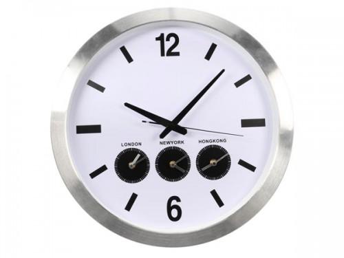 aluminium wereldklok met 3 tijdzones - Ø 45.5 cm - wc109