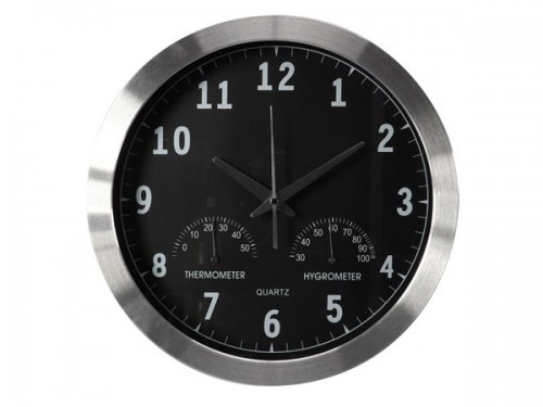 aluminium wandklok met thermometer & hygrometer - Ø 35.5 cm - wc118
