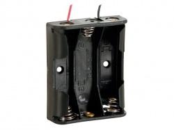 batterijhouder voor 3 x aa-cel (met draden) - BH331A
