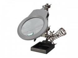 derde hand met vergrootglas, ledlamp en soldeerbouthouder - vthh3n