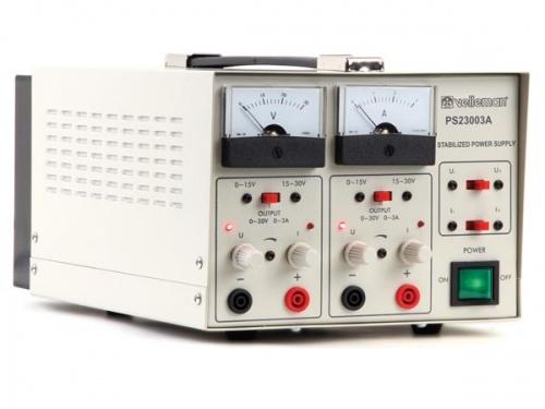 laboratoriumvoeding 2 x 0-30v / 2 x 0-3a dubbele analoge display - PS23003A