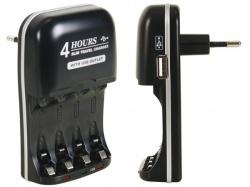 snellader voor nimh-batterijen met usb-uitgang - VLE2