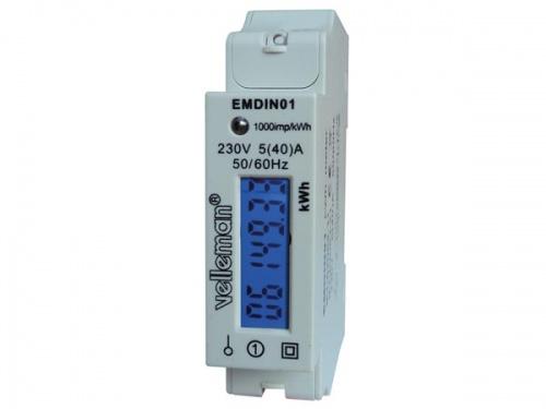eenfasige kwh-meter voor din-rail montage - 1 module - emdin01