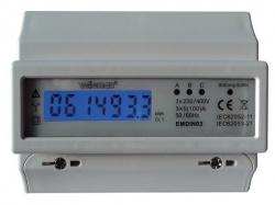 driefasige kwh-meter voor din-rail montage - 7 modules - emdin03