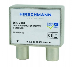 2-Weg CATV push-on antenne splitter, 4G proof - dpo 2104