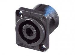 neutrik - speakon chassisdeel, 4-polig mannelijk, zwart, d-formaat - NL4MP