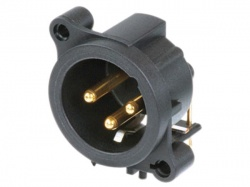 neutrik - xlr mounting connector, 3-pin male, separate ground contact - NC3MAAH