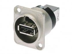 neutrik - omkeerbare usb-adapter (type usb a en usb b) - vernikkelde behuizing type d - NA-USB