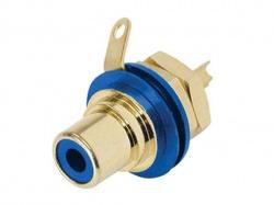 rean - phono chassisdeel (rca) - vergulde contacten - blauw - NYS367-6