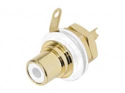 rean - phono chassisdeel (rca) - vergulde contacten - wit - NYS367-9