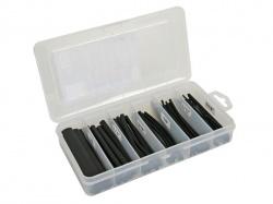 set thermische krimpkousen - zwart met lijm 10cm - 85 st. - in opbergdoos - K/STB2G