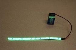 Flexibele LEDSTRIP op batterij - Groen 20 cm. met 9 Volt aansluiting - LEDSTRIP op batterijvoeding - ledstr20gr