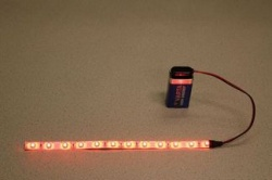 Flexibele LEDSTRIP op batterij - Rood 20 cm. met 9 Volt aansluiting - LEDSTRIP op batterijvoeding - LEDSTR20RD